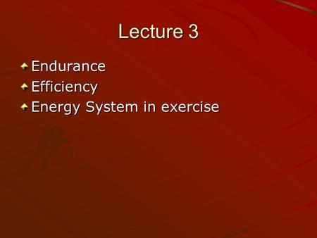 Lecture 3 EnduranceEfficiency Energy System in exercise.