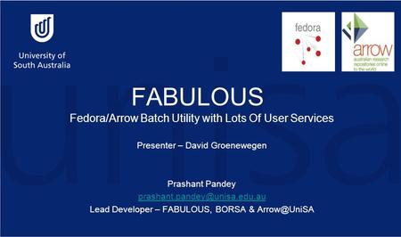 FABULOUS Fedora/Arrow Batch Utility with Lots Of User Services Presenter – David Groenewegen Prashant Pandey Lead Developer.