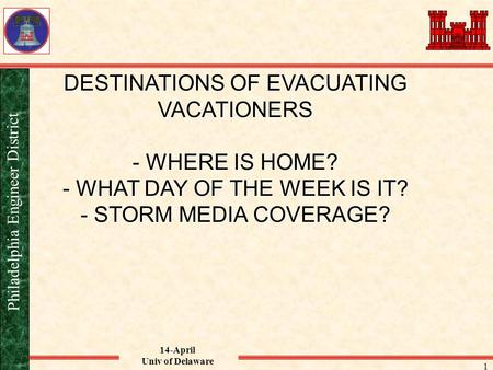 14-April Univ of Delaware Philadelphia Engineer District 1 DESTINATIONS OF EVACUATING VACATIONERS - WHERE IS HOME? - WHAT DAY OF THE WEEK IS IT? - STORM.