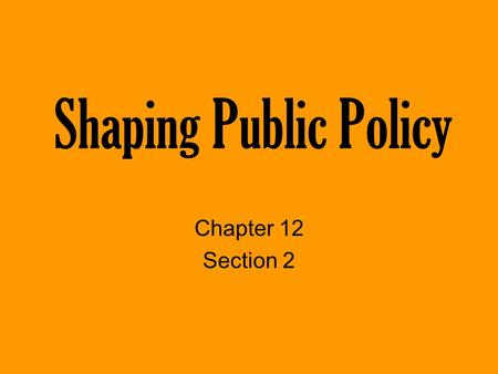Shaping Public Policy Chapter 12 Section 2.