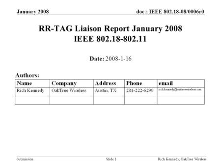 Doc.: IEEE 802.18-08/0006r0 Submission January 2008 Rich Kennedy, OakTree WirelessSlide 1 RR-TAG Liaison Report January 2008 IEEE 802.18-802.11 Date: 2008-1-16.