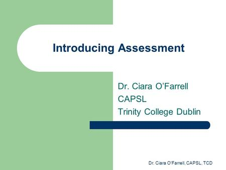 Introducing Assessment
