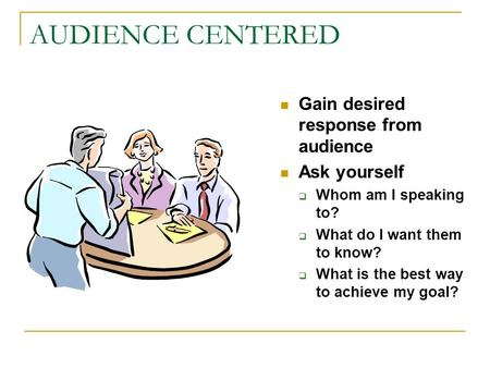 AUDIENCE CENTERED Gain desired response from audience Ask yourself  Whom am I speaking to?  What do I want them to know?  What is the best way to achieve.