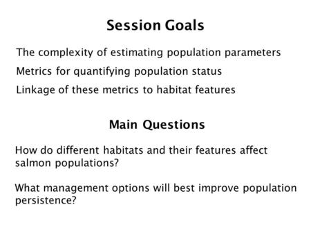 Session Goals The complexity of estimating population parameters Metrics for quantifying population status Linkage of these metrics to habitat features.