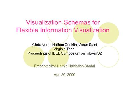 Visualization Schemas for Flexible Information Visualization Chris North, Nathan Conklin, Varun Saini Virginia Tech. Proceedings of IEEE Symposium on InfoVis'02.
