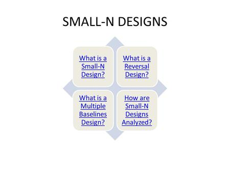 SMALL-N DESIGNS What is a Small-N Design? What is a Reversal Design?