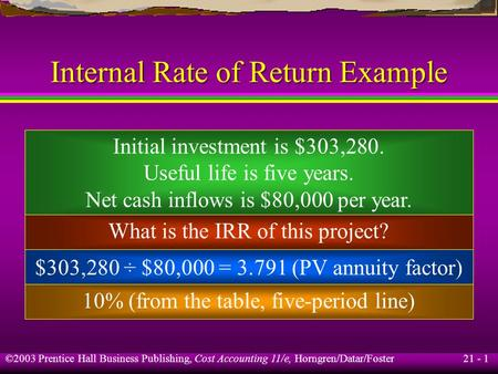 21 - 1 ©2003 Prentice Hall Business Publishing, Cost Accounting 11/e, Horngren/Datar/Foster Internal Rate of Return Example Initial investment is $303,280.