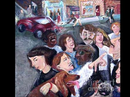 Title: Busy Street with People Artist: Barbara Yalof Medium: Painting - Acrylic On Canvas.