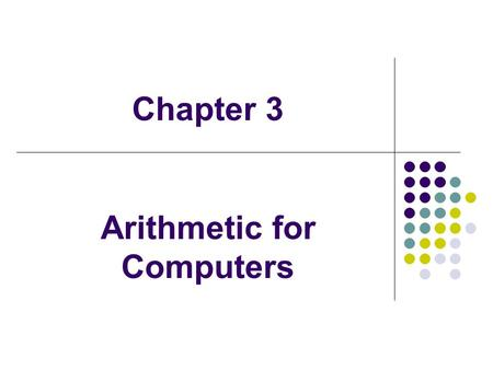 Chapter 3 Arithmetic for Computers. Arithmetic Where we've been: Abstractions: Instruction Set Architecture Assembly Language and Machine Language What's.