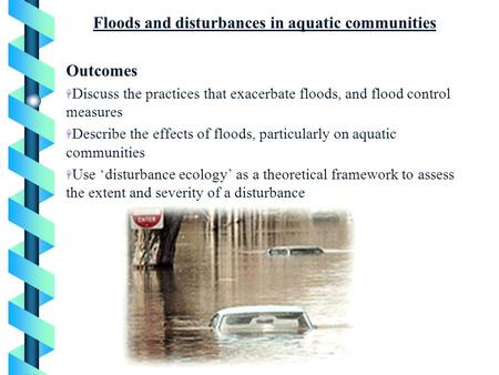 Floods and disturbances in aquatic communities Outcomes H Discuss the practices that exacerbate floods, and flood control measures H Describe the effects.