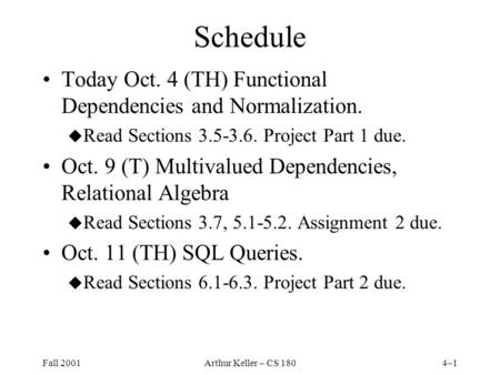 Fall 2001Arthur Keller – CS 1804–1 Schedule Today Oct. 4 (TH) Functional Dependencies and Normalization. u Read Sections 3.5-3.6. Project Part 1 due. Oct.