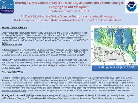 7/14/2015 IceBridge Observations of Sea Ice Thickness, Structure, and Volume Change: Bringing a NOAA Viewpoint Update Summary: Jan 19, 2011 PI: Dave McAdoo,