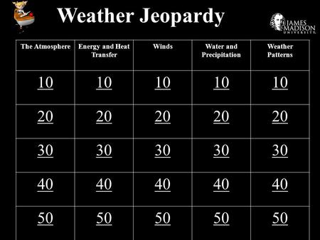 Weather Jeopardy The AtmosphereEnergy and Heat Transfer WindsWater and Precipitation Weather Patterns 10 20 30 40 50.