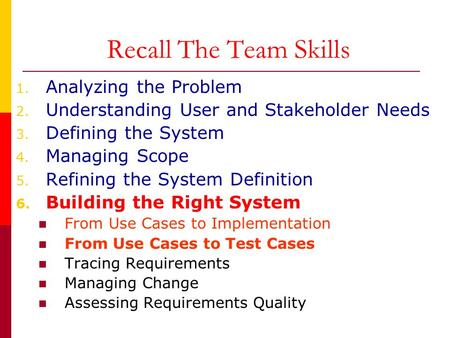 Recall The Team Skills Analyzing the Problem