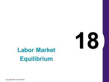 Copyright©2004 South-Western 18 Labor Market Equilibrium.