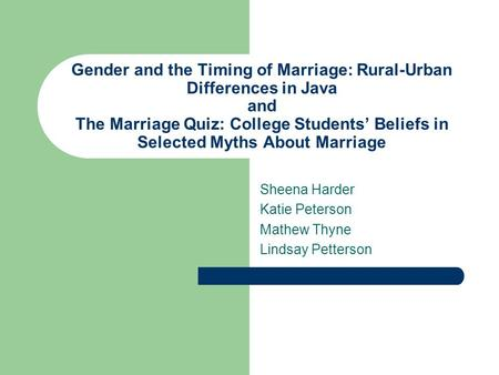 Gender and the Timing of Marriage: Rural-Urban Differences in Java and The Marriage Quiz: College Students' Beliefs in Selected Myths About Marriage Sheena.