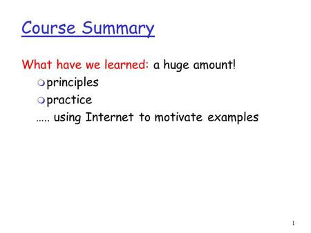 1 Course Summary What have we learned: a huge amount! m principles m practice ….. using Internet to motivate examples.