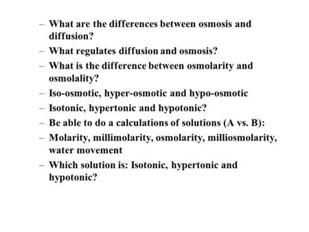 What are the differences between osmosis and diffusion?