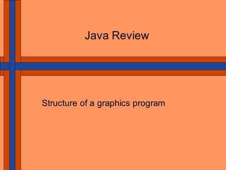 Java Review Structure of a graphics program. Computer Graphics and User Interfaces Java is Object-Oriented A program uses objects to model the solution.
