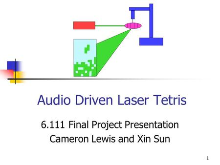 1 Audio Driven Laser Tetris 6.111 Final Project Presentation Cameron Lewis and Xin Sun.