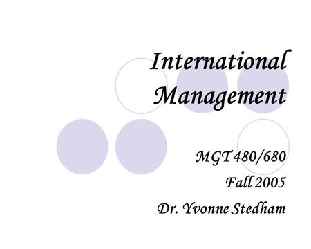<strong>International</strong> Management