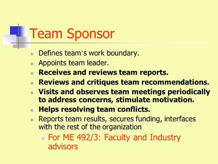 Team Sponsor Defines team ' s work boundary. Appoints team leader. Receives and reviews team reports. Reviews and critiques team recommendations. Visits.