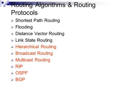 Routing Algorithms & Routing Protocols  Shortest Path Routing  Flooding  Distance Vector Routing  Link State Routing  Hierarchical Routing  Broadcast.