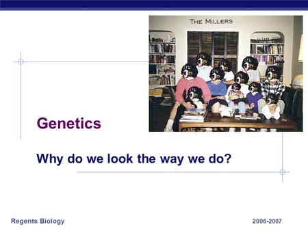 Regents Biology 2006-2007 Genetics Why do we look the way we do?