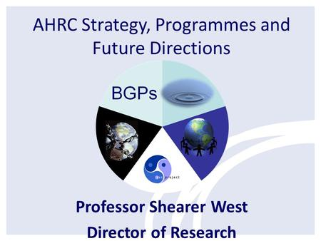 AHRC Strategy, Programmes and Future Directions Professor Shearer West Director of Research.