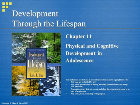 Copyright © Allyn & Bacon 2007 Development Through the Lifespan Chapter 11 Physical and Cognitive Development in Adolescence This multimedia product and.