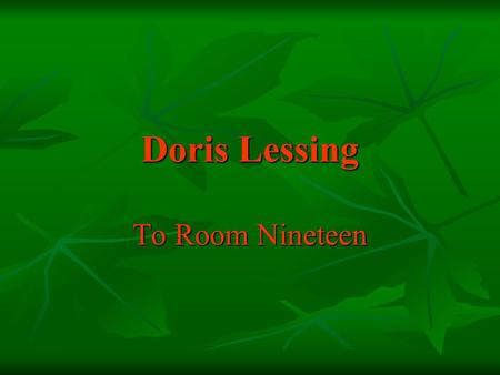 essay room nineteen doris lessing