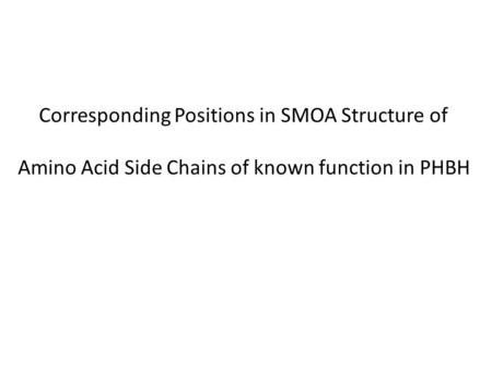 Corresponding Positions in SMOA Structure of Amino Acid Side Chains of known function in PHBH.