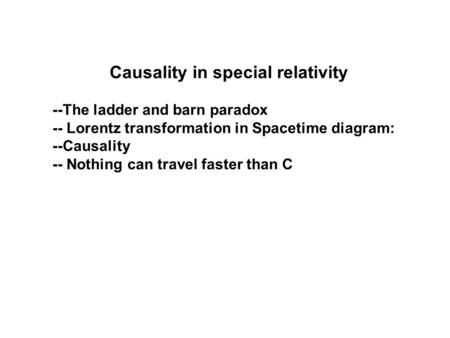 Causality in special relativity