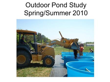 Outdoor Pond Study Spring/Summer 2010. Ponds 12, 9' x 2.5' blue poly tanks Filled with ~1 cu. yard of 50/50 Pine bark:clay loam Respective fertilizers.