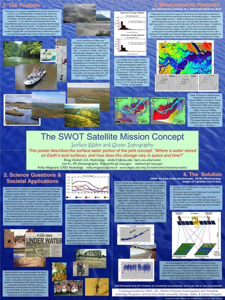 "The SWOT Satellite Mission Concept Surface Water and Ocean Topography This poster describes the surface water portion of the joint concept: ""Where is water."