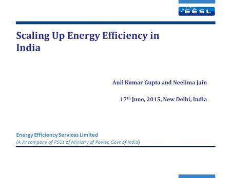 Scaling Up Energy Efficiency in India