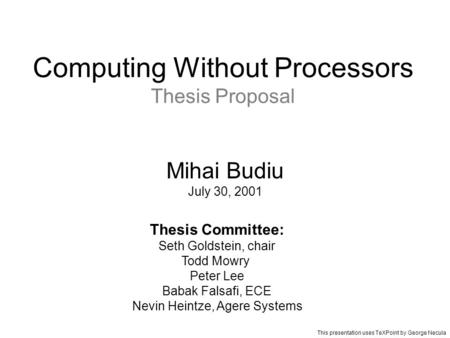 cmu thesis proposal Homepage for the department of statistics at carnegie mellon university home statistics/machine learning joint phd the thesis proposal and defense must be.