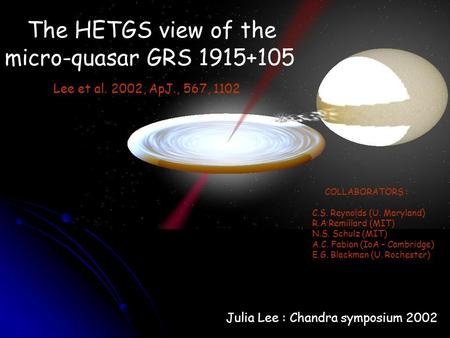 The HETGS view of the micro-quasar GRS 1915+105 Lee et al. 2002, ApJ., 567, 1102 COLLABORATORS : C.S. Reynolds (U. Maryland) R.A Remillard (MIT) N.S. Schulz.