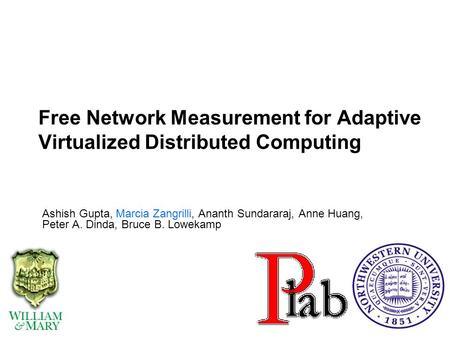 Free Network Measurement for Adaptive Virtualized Distributed Computing Ashish Gupta, Marcia Zangrilli, Ananth Sundararaj, Anne Huang, Peter A. Dinda,