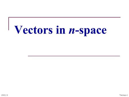 2005/8Vectors-1 Vectors in n-space. 2005/8Vectors-2 Definition of points in space A pair of numbere (x, y) can be used to represent a point in the plane.
