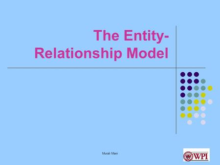Murali Mani The Entity- Relationship Model. Murali Mani Database Design Stages Application Requirements Conceptual Design Logical Design Physical Design.