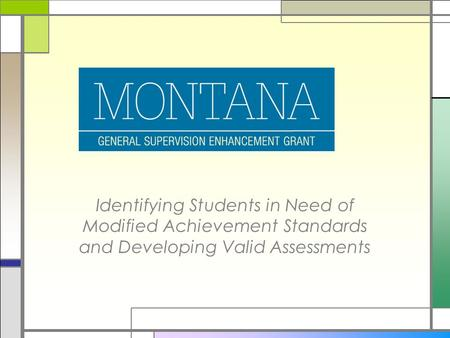 Identifying Students in Need of Modified Achievement Standards and Developing Valid Assessments.