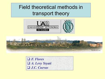 Field theoretical methods in transport theory  F. Flores  A. Levy Yeyati  J.C. Cuevas.