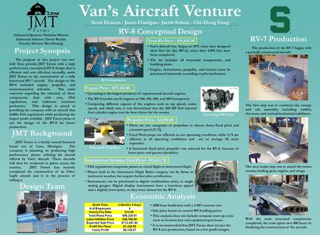 Van's Aircraft Venture Project Synopsis The purpose of this project was two- fold: first, provide JMT Farms with a high performance conceptual RV-8 design.