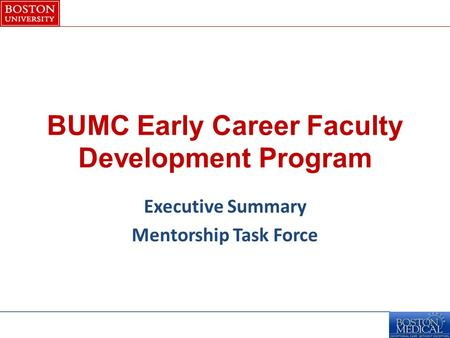 BUMC Early Career Faculty Development Program Executive Summary Mentorship Task Force.