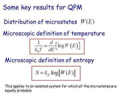 Microscopic definition of entropy Microscopic definition of temperature This applies to an isolated system for which all the microstates are equally probable.