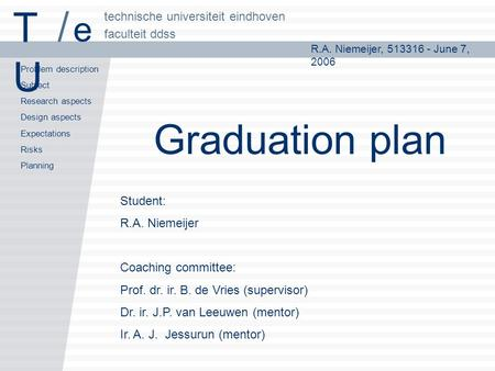 R.A. Niemeijer, 513316 - June 7, 2006 Problem description Subject Research aspects Design aspects Expectations Risks Planning faculteit ddss technische.