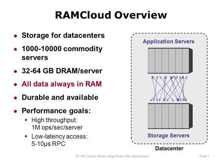 CS 142 Lecture Notes: Large-Scale Web ApplicationsSlide 1 RAMCloud Overview ● Storage for datacenters ● 1000-10000 commodity servers ● 32-64 GB DRAM/server.