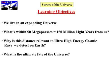 Survey of the Universe We live in an expanding Universe What's within 50 Megaparsecs = 150 Million Light Years from us? Why is this distance relevant to.