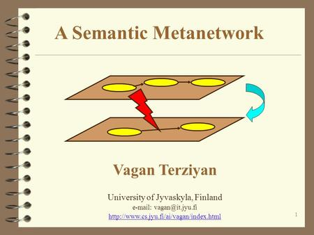 1 A Semantic Metanetwork Vagan Terziyan University of Jyvaskyla, Finland